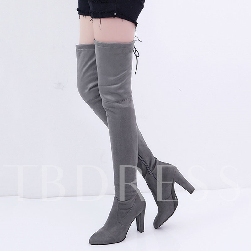 Thigh High Boots Chunky Heel Lace-Up Side Zipper Women's Shoes