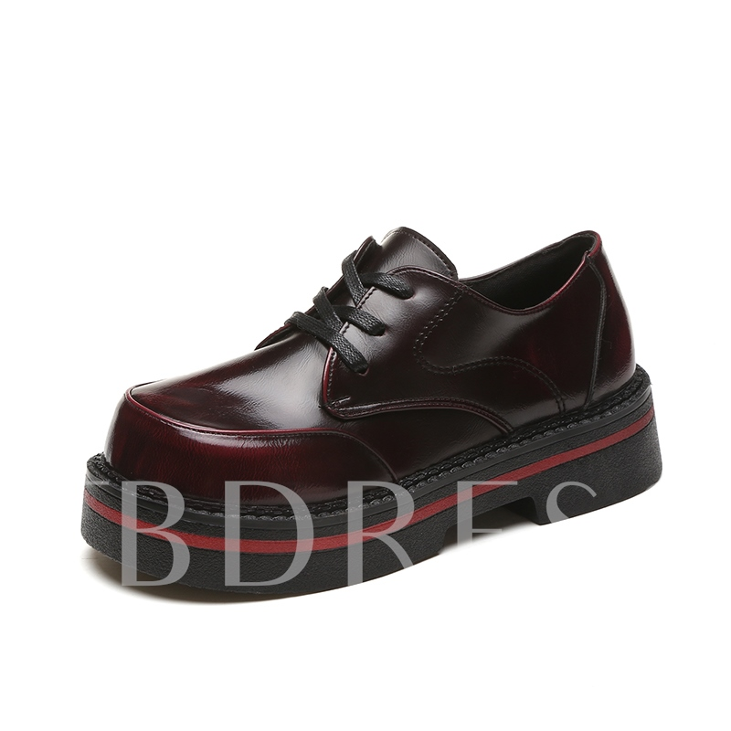 Lace-Up Patent Leather Platform Sneaker Shoes for Women