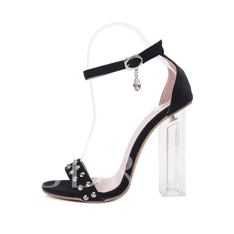 Buy Suede Rhinestone Rivet Chunky High Heel Women's Sandals, Summer, 12959165 for $26.99 in TBDress store