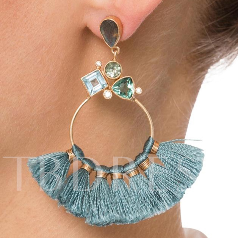 Circle Rainbow Colored Stone Tassels Earrings