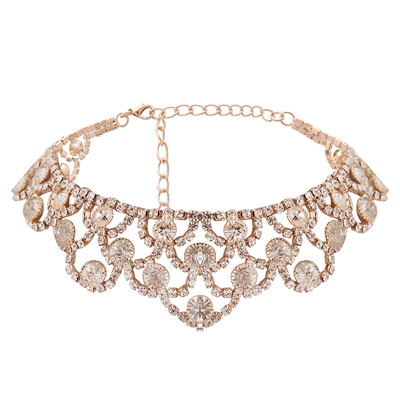 Diamante Hollow Out Alloy Torques Choker Necklace