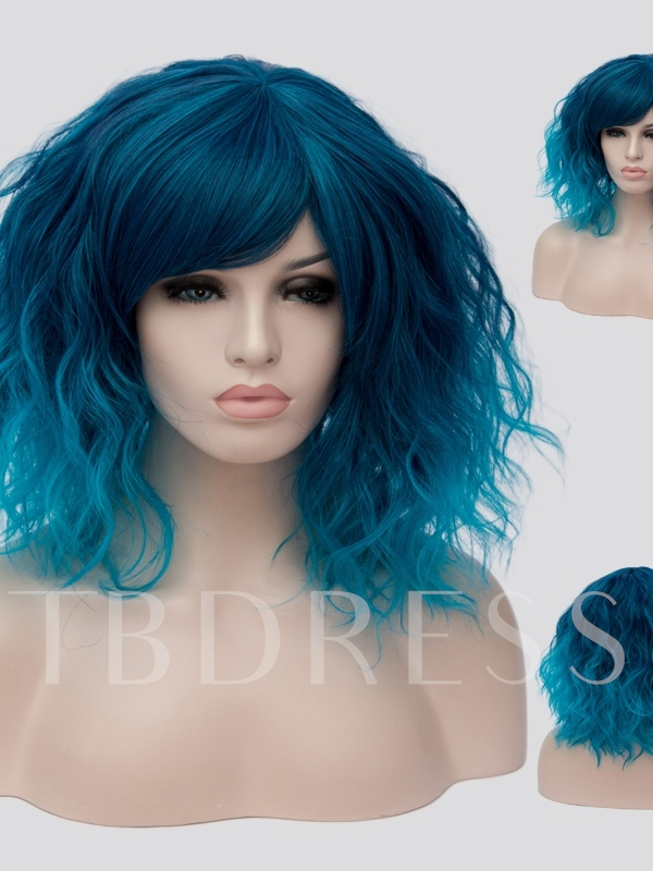 Ombre Blue Medium Halloween Wavy Capless Synthetic Hair Wig 14 Inches