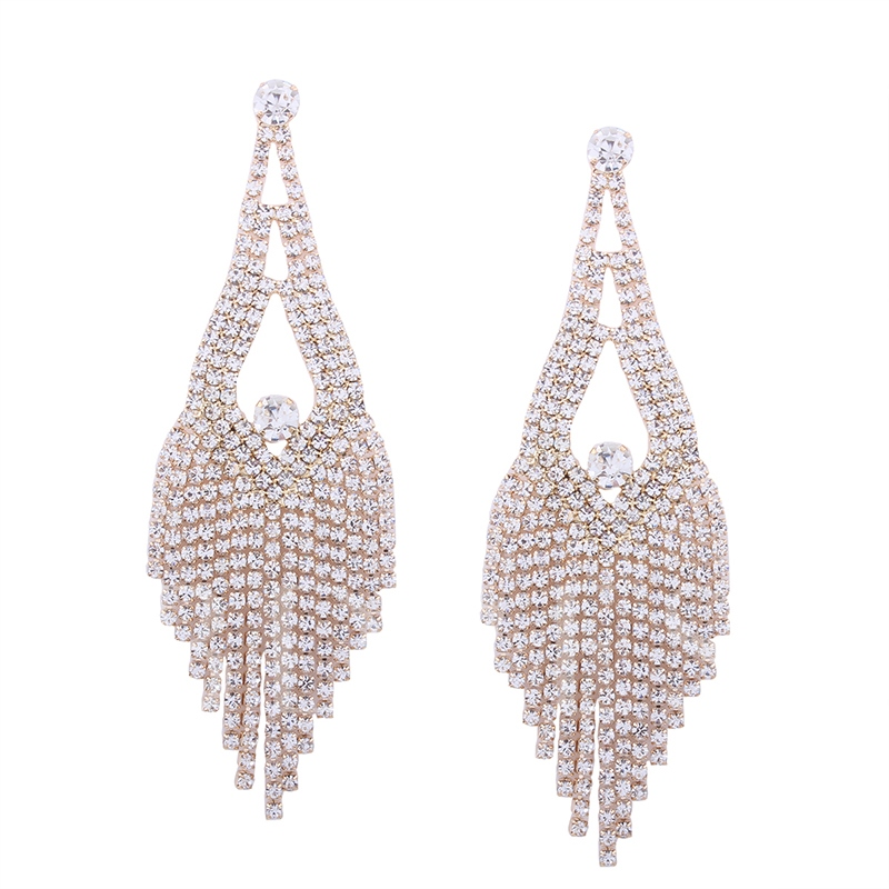 Zircon Inlaid Hollow Out Full Drill Alloy European Long Tassel Earrings