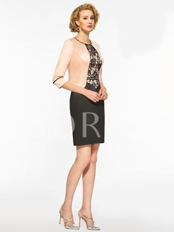 Beaded Scoop Neck Sheath Lace Mother of the Bride Dress with Jacket