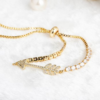 Arrow Shaped Diamante Box Chain Bracelet