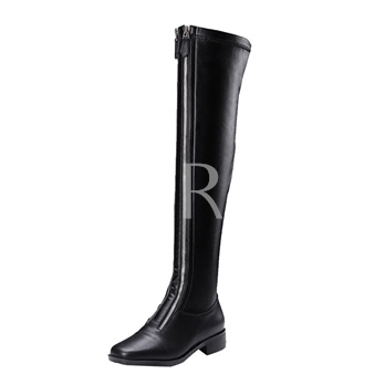 Double Zipper Front Short Floss Square Toe Over-the-Knee Black Boots