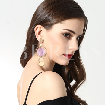 Hollow Annulus Shell Pendant Gold-Tone Alloy Simple Long OL Drop Earrings