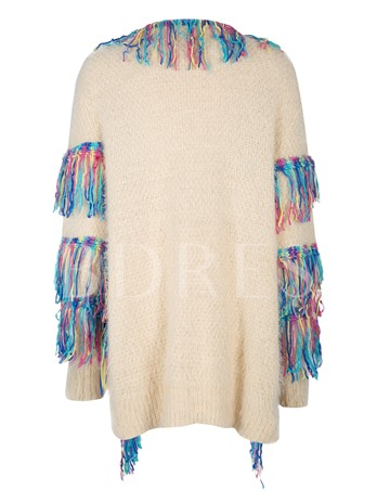 Round Neck Color Block with Tassels Faux Woolen Women's Cardigan