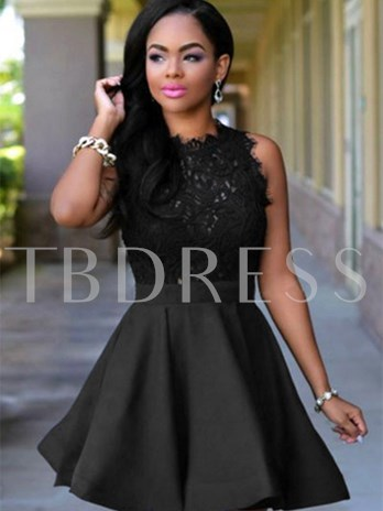 A-Line Scoop Lace Sequins Short Homecoming Dress