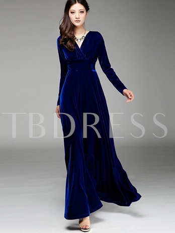 Solid Color Velvet V Neck Women's Maxi Dress