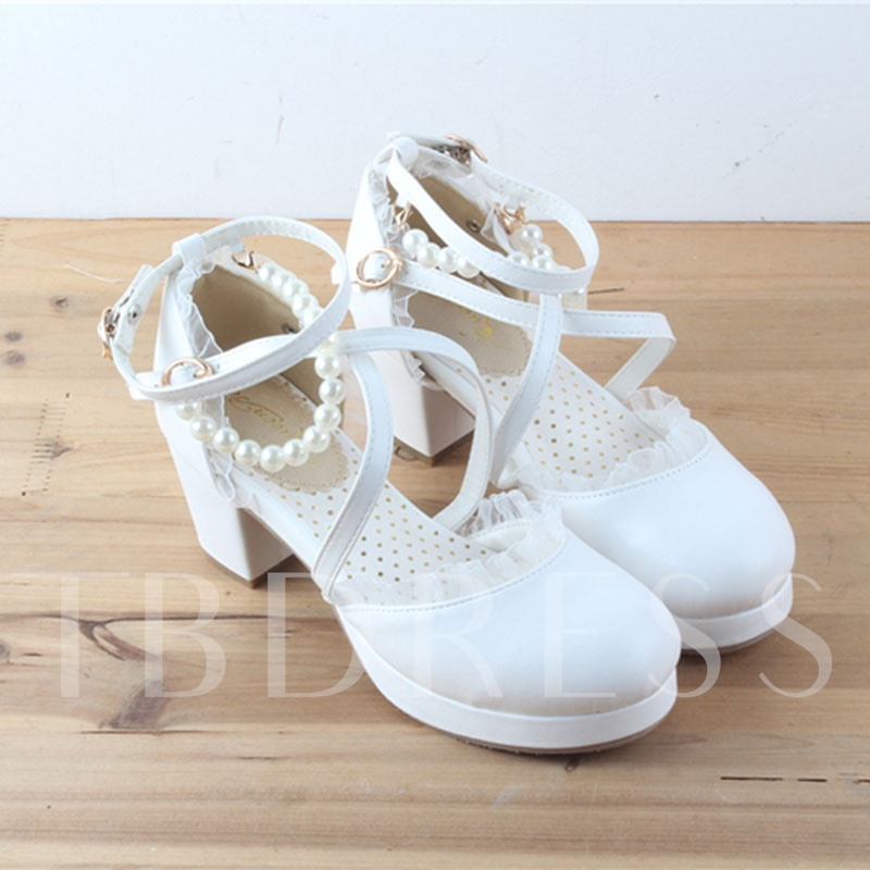 Halloween Party Shoes Lolita Chunky Heel Pumps for Women