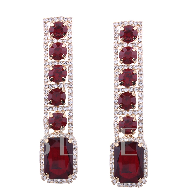 Geometric Diamante Ruby Long Tassel Earrings