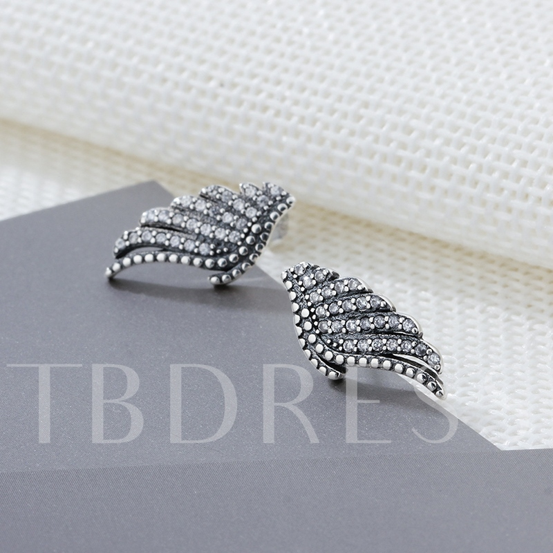 Wing Shaped S925 Sterling Silver Zircon Earrings