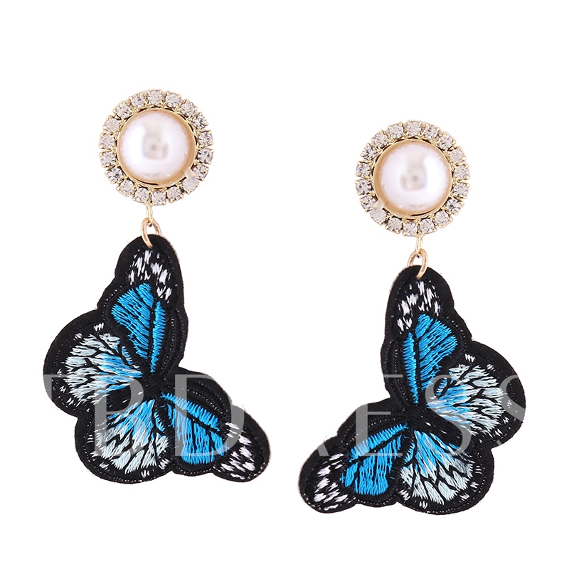 Colorful Embroidery Butterfly Diamante Imitation Pearls Drop Earrings