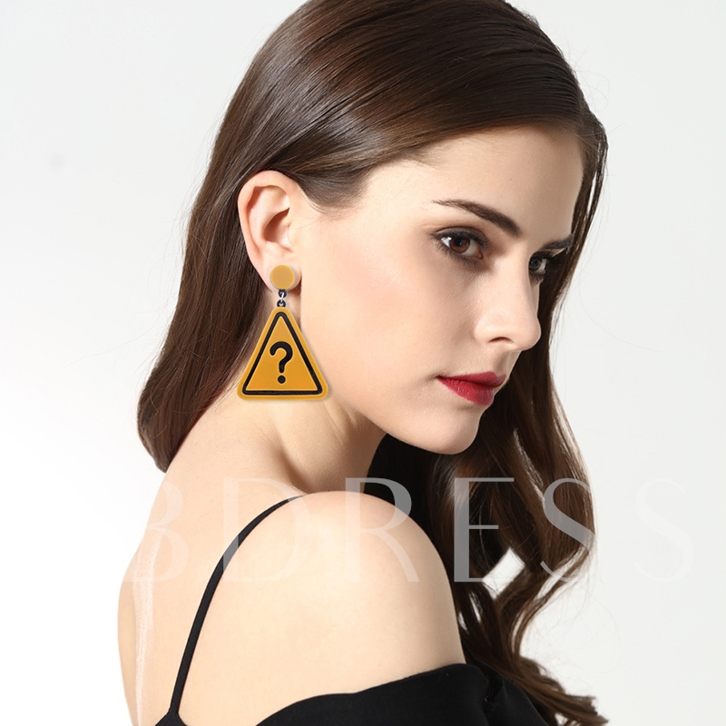 Punctuation Mark Pattern Geometric Triangle Irregular Creative Acrylic Earrings