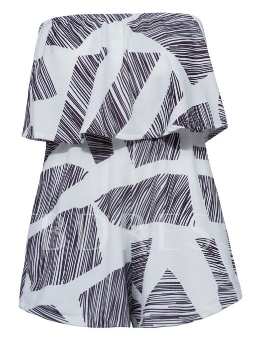 Color Block Geometric Pattern Women's Vacation Rompers