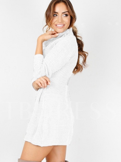Plain Loose Women's Sweater Dress