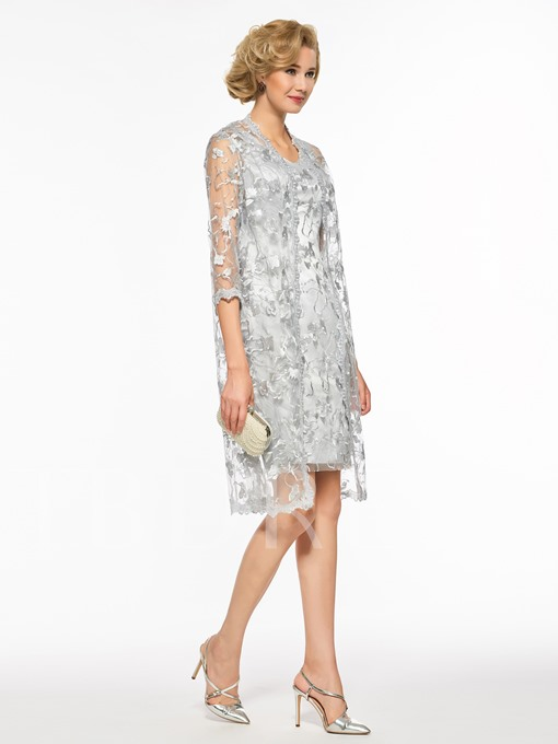 Column Lace Mother of the Bride Dress with Jacket