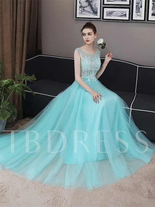 Bateau Backless Cap Sleeves Appliques Sweep Train Prom Dress