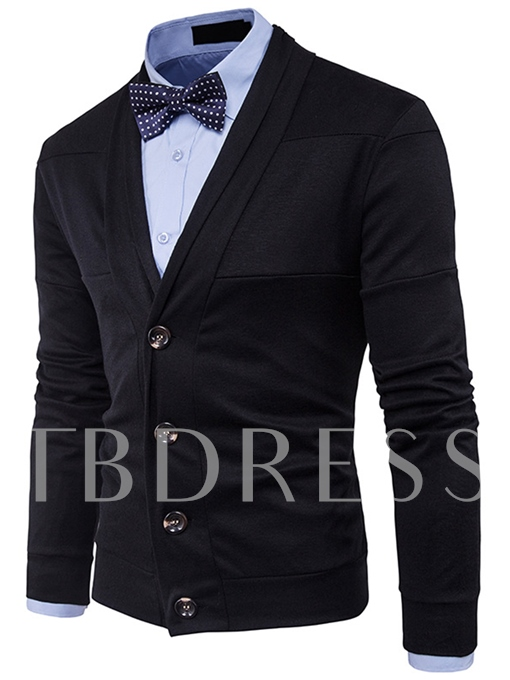 Lapel Patchwork Single-Breasted Solid Color Slim Fit Knit Men's Cardigan Sweater