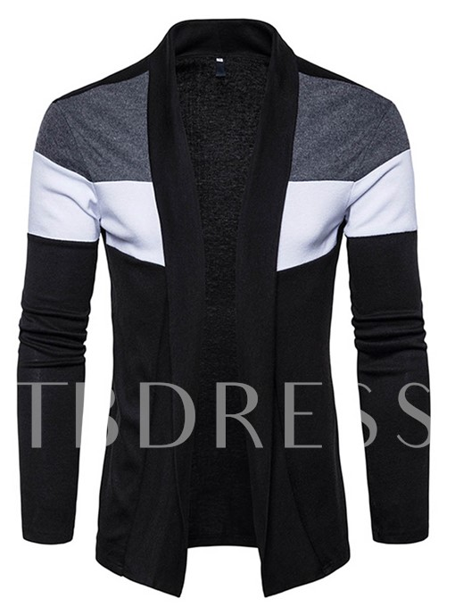 Color Block Patchwork Slim Fit Knit Men's Cardigan Sweater