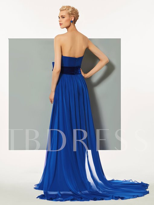 Sweetheart Split-Front Ruched Rhinestone Evening Dress