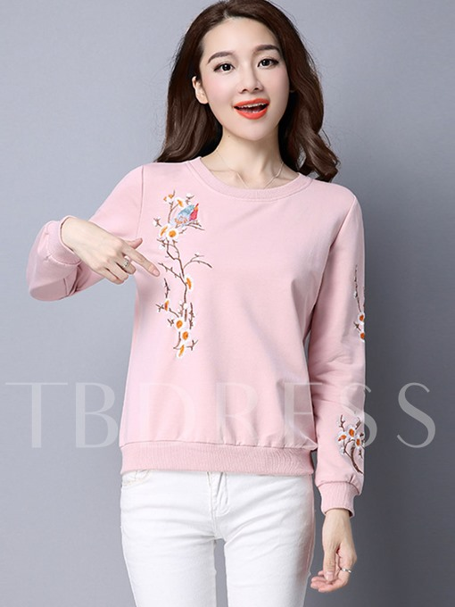 Plain Pullover Floral Embroidery Women's Sweatshirt