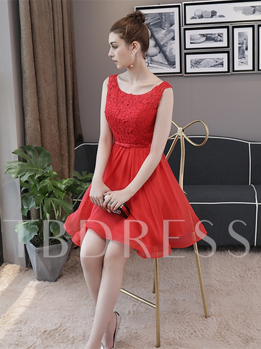 A-Line Scoop Appliques Bowknot Sashes Mini Homecoming Dress