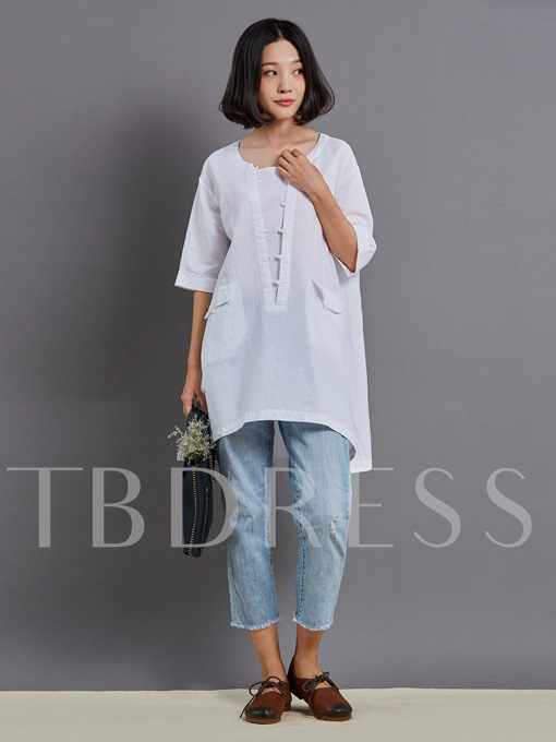 Pocket Patchwork Tunic Women's Tee Shirt