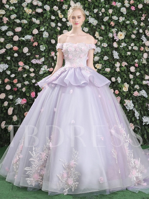 Ball Gown Off-the-Shoulder Flowers Lace Pick-Ups Court Train Quinceanera Dress