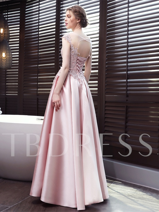 Cap Sleeves A-Line Scoop Appliques Sashes Bowknot Floor-Length Evening Dress
