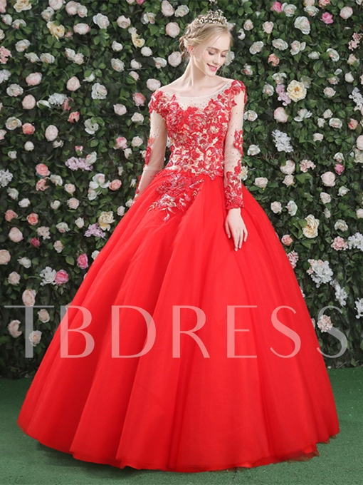 Long Sleeves Appliques Beading Ball Gown Scoop Quinceanera Dress