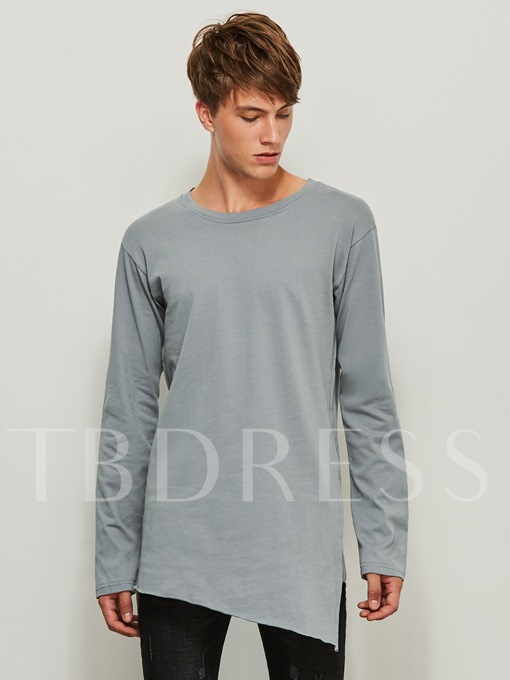 Round Collar Midi Pattern Irregular Solid Color Loose Men's T-Shirt