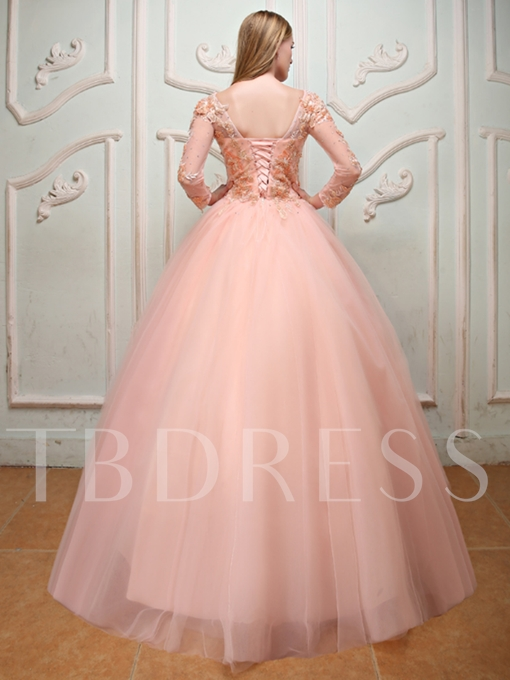 Long Sleeves Ball Gown Appliques Beading Pearls Bateau Quinceanera Dress