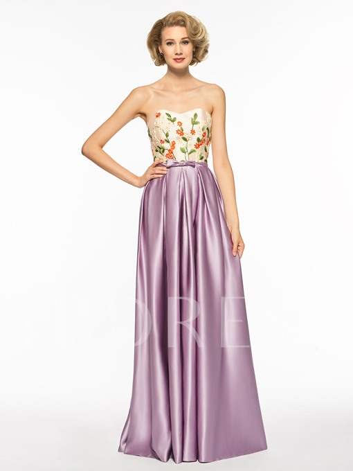 Embroidery A-Line Bowknot Prom Dress