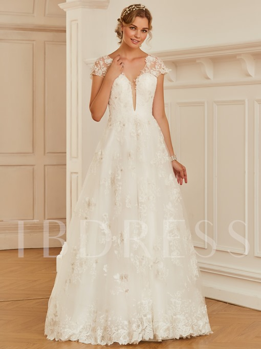 V-Neck Cap Sleeves Appliques Backless Wedding Dress