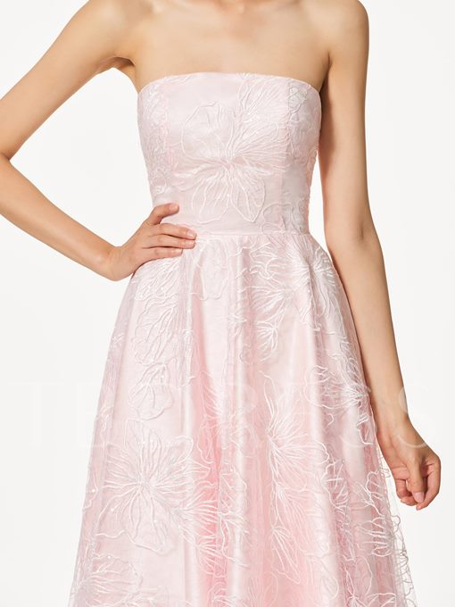 Strapless A-Line Lace High Low Prom Dress