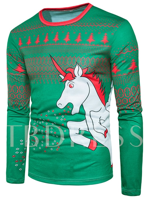 Round Collar Christmas 3D White Horse Printed Slim Fit Men's T-Shirt