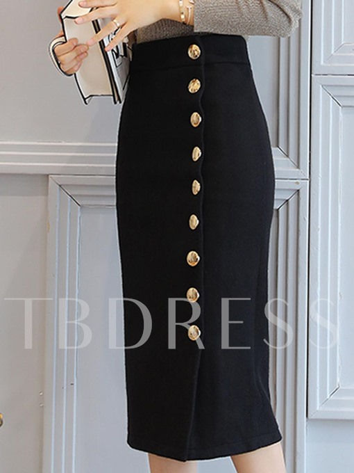 Fall Slim Button Pure Color Women's Skirt