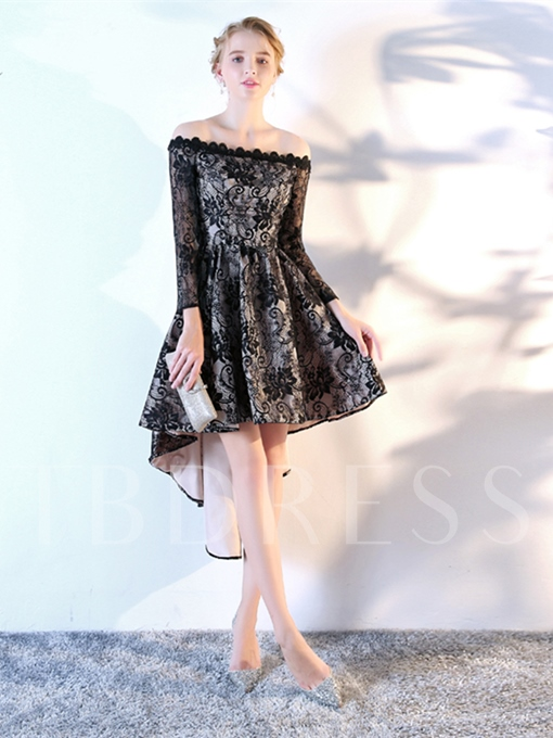 A-Line Lace Off-the-Shoulder Asymmetry Homecoming Dress