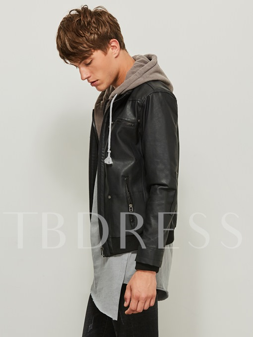 Motor Style Fake Two Piece Hooded Zipper Slim Fit Men's Leather Jacket