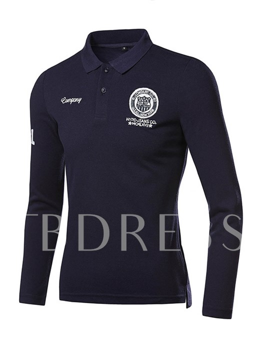 England Style Solid Color Letter Printed Slim Fit Men's Long Sleeve Polo