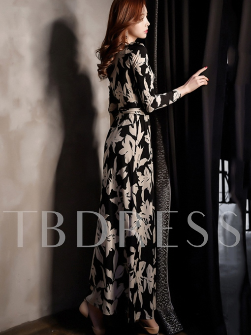 Black Long Sleeve Split Women's Maxi Dress