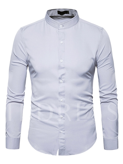 Stand Collar Single-Breasted Slim Fit Men's Button Shirt