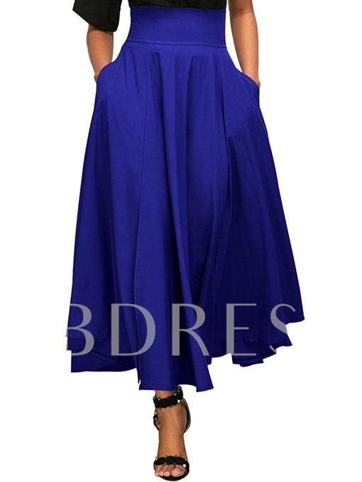 Plain Solid Color Lace-Up Pleated Women's Skirt