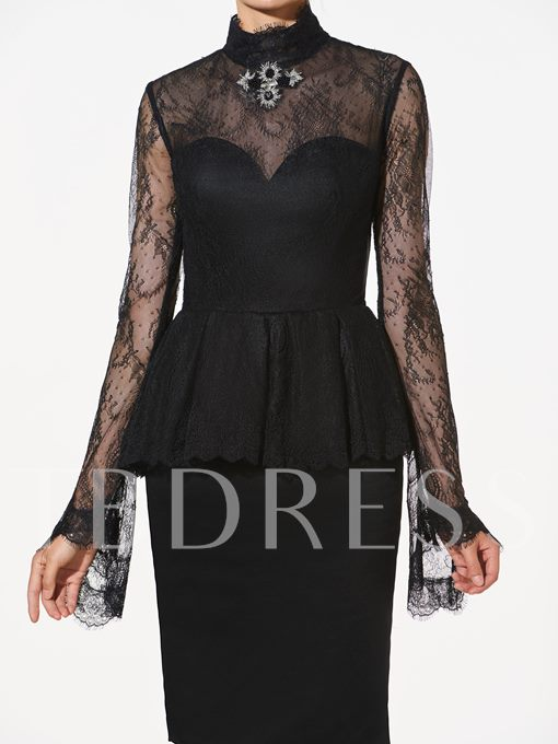 High Neck Rhinestone Lace Button Cocktail Dress