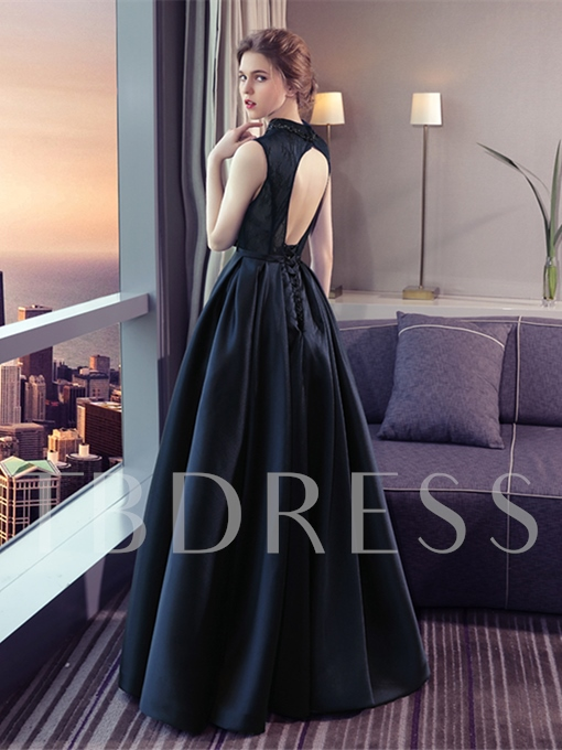 A-Line V-Neck Beading Lace Backless Floor-Length Evening Dress