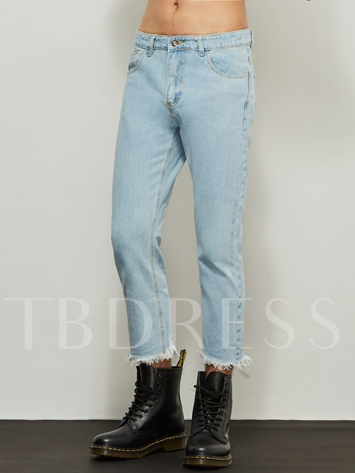 Motor Style Mid-Waist Vintage Worn Loose Men's Casual Jeans