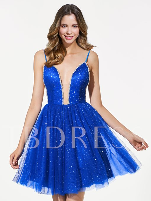 A-Line Sequins Spaghetti Straps Backless Short Homecoming Dress