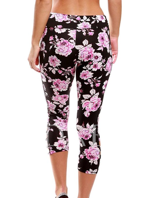 Floral Print Hollow Patchwork Women's Leggings